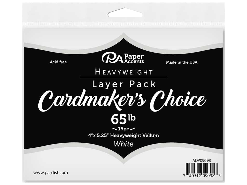 Paper Accents Cardstock Pack Cardmakers Choice Card Layer 4 in. x 5.25 in. 65 lb Vellum 15 pc