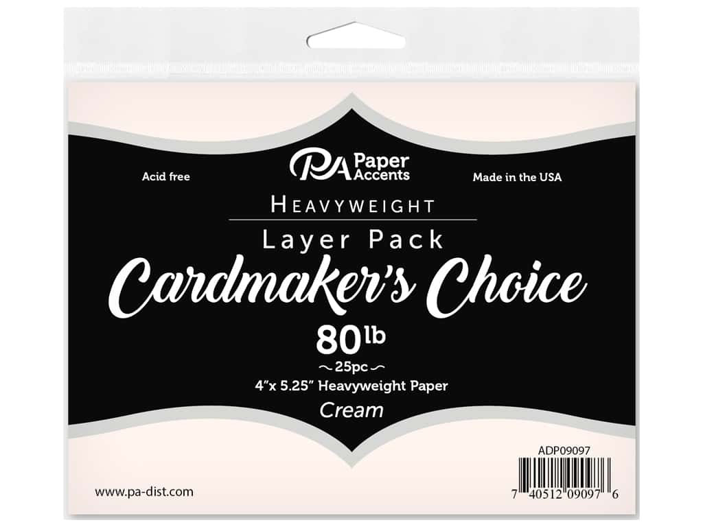 Paper Accents Cardstock Pack Cardmakers Choice Card Layer 4 in. x 5.25 in. 80 lb Cream 25 pc