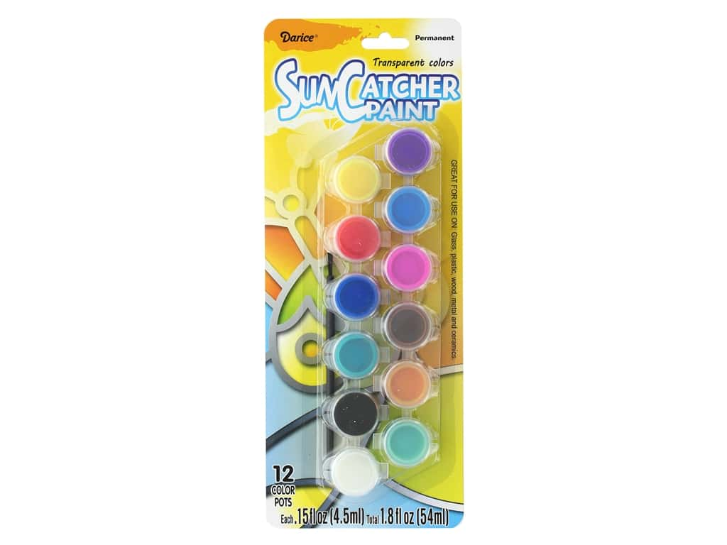 Darice Paint Pot Suncatcher Transparent 12 pc
