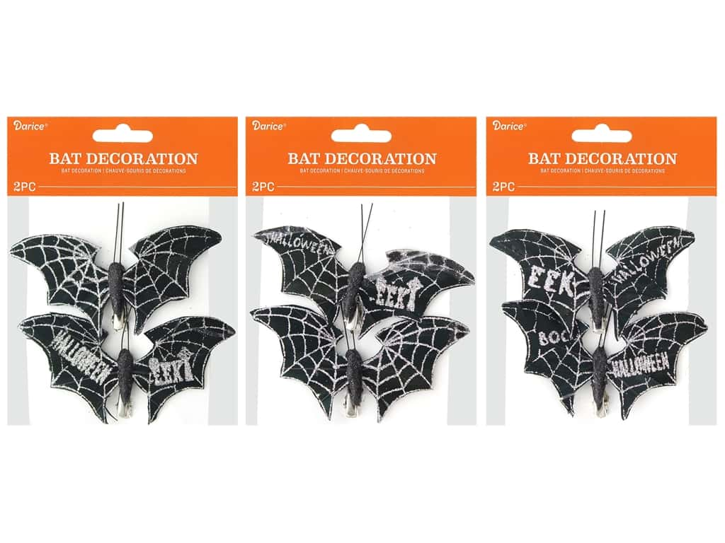 Darice Bats Clip Assorted Silver 2pc
