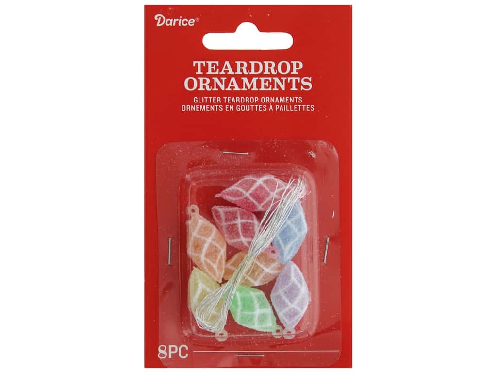 Darice Ornament Teardrop Plastic l.25 in. 8 pc