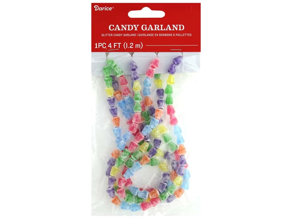 Darice Garland Candy Plastic w/Beads Glitter 48 in.