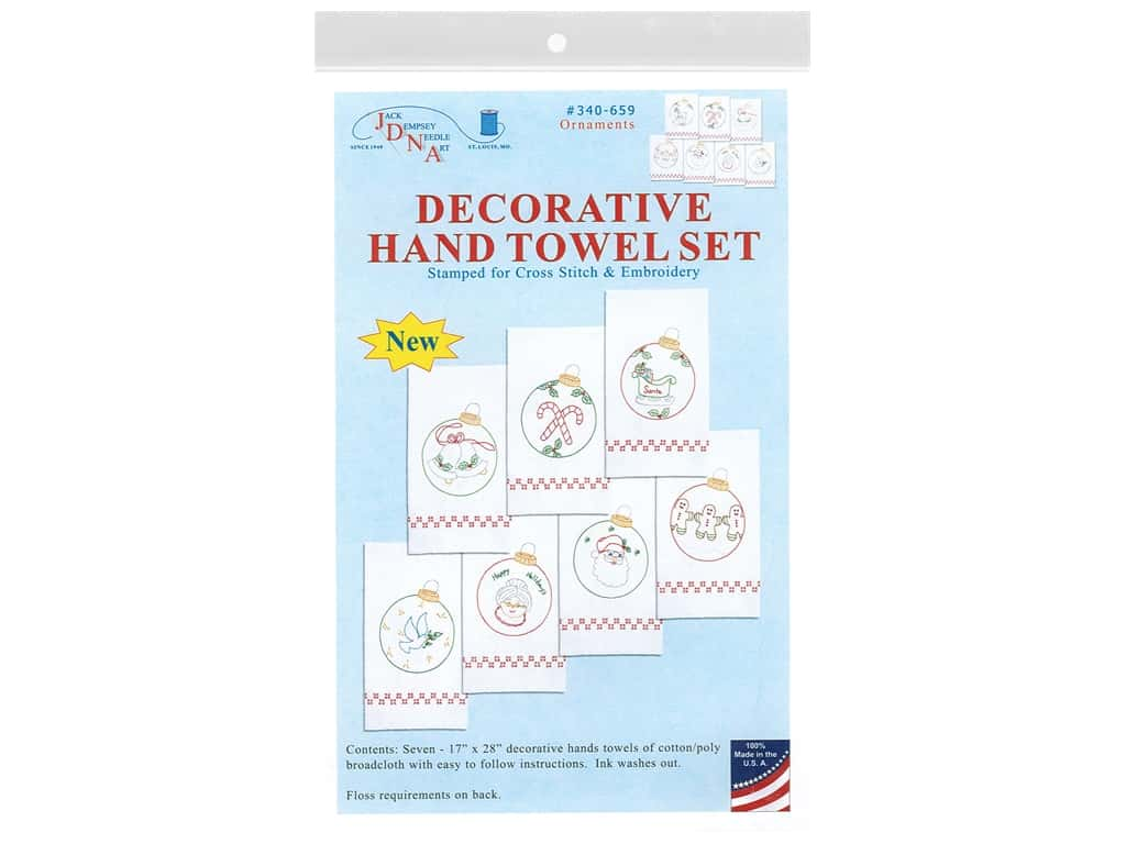 Jack Dempsey Decorative Hand Towel - Christmas Ornaments 7 pc.