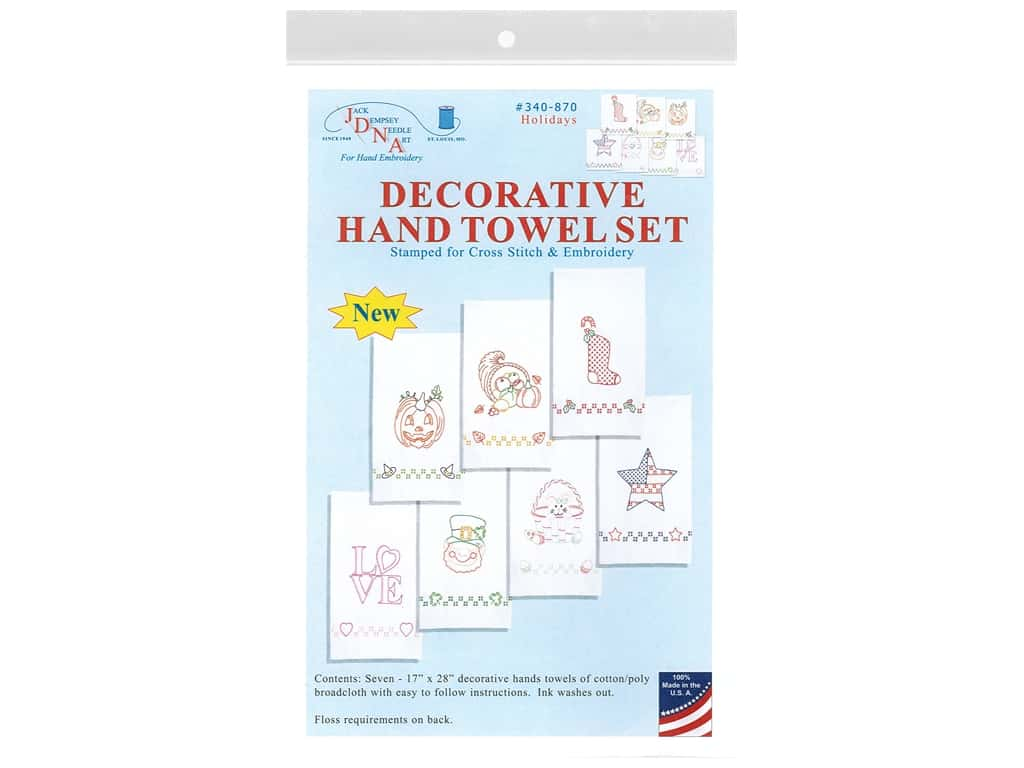 Jack Dempsey Decorative Hand Towel Holiday Designs 7 pc
