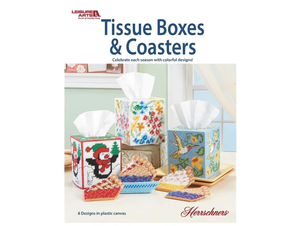 Leisure Arts Tissue Boxes & Coasters Plastic Canvas Book