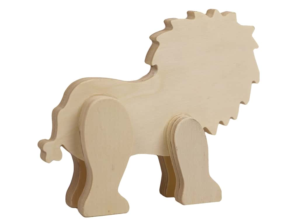Multicraft Wood Standing Animal Lion
