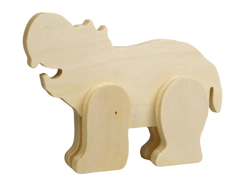 Multicraft Wood Standing Animal Hippo