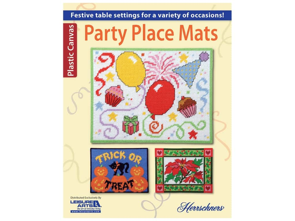 Leisure Arts Party Place Mats Plastic Canvas Book