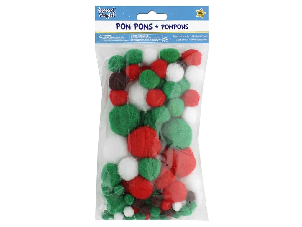 Multicraft Seasonal Wonders Pom Poms Jumbo Pack 90 pc