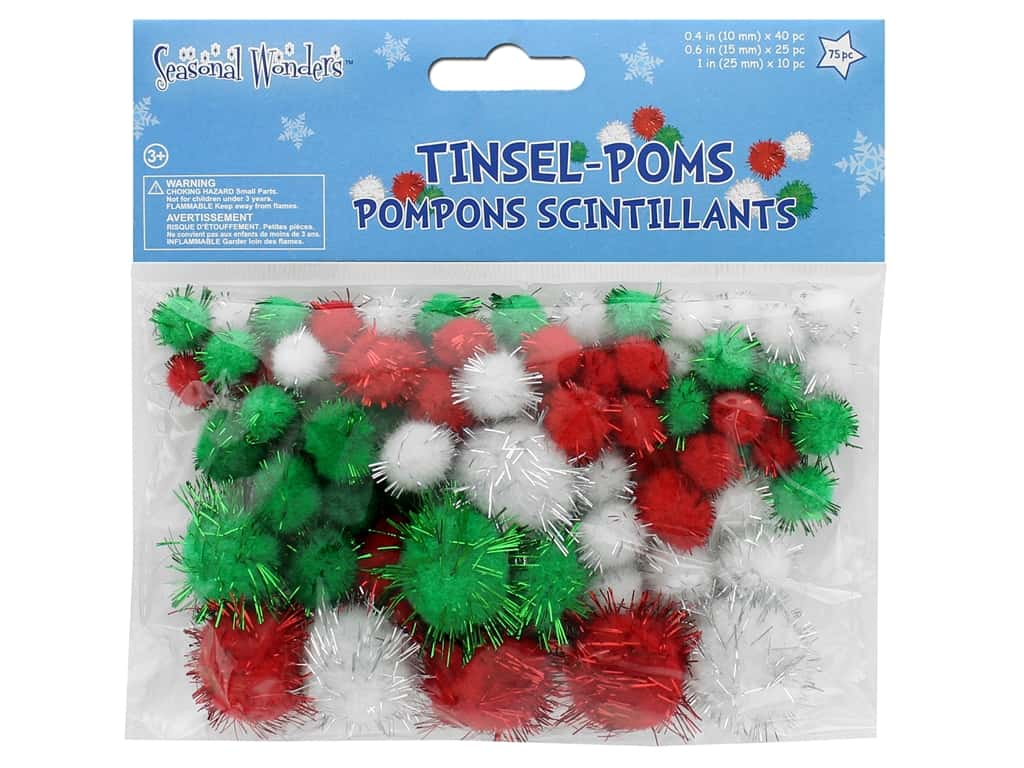 Multicraft Seasonal Wonders Tinsel Poms Pack Glitzy 75pc