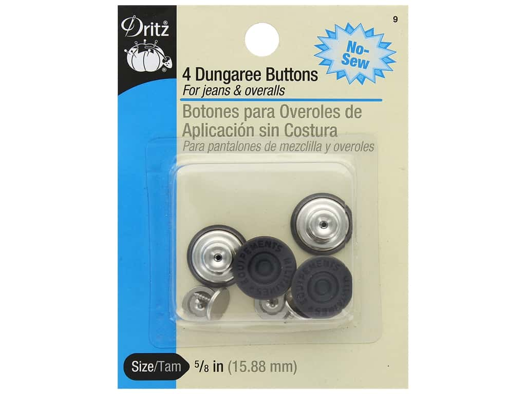 No Sew Dungaree Buttons by Dritz Copper 4 pc.