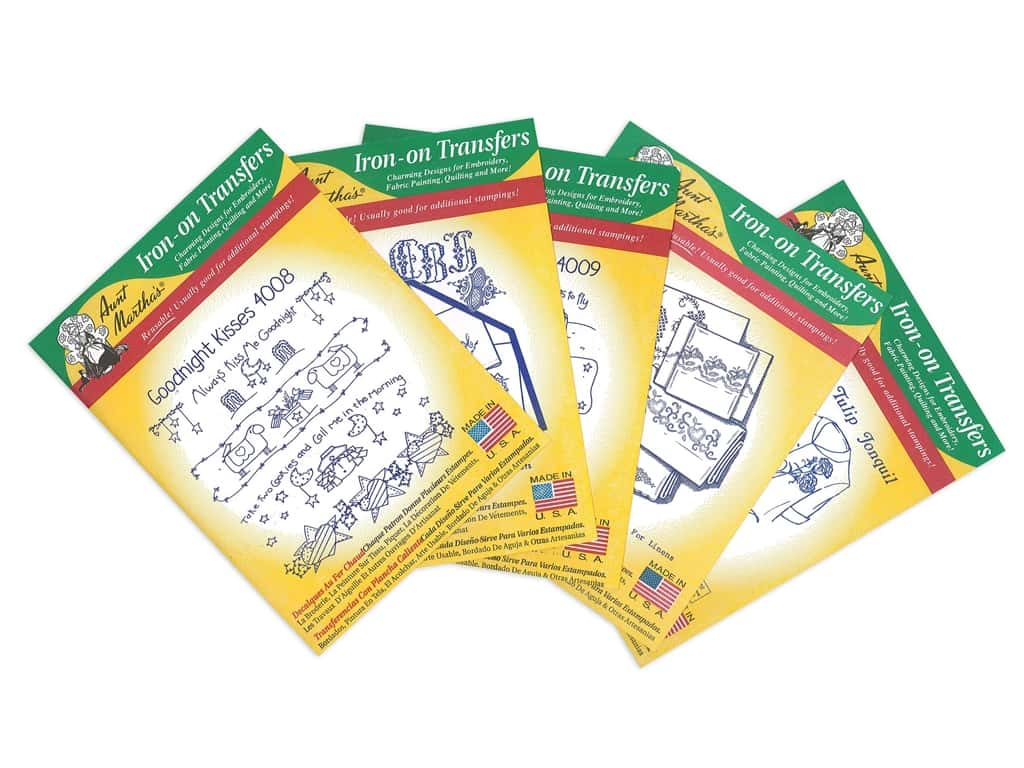 Aunt Martha's Hot Iron Transfers Green Assortment - Linens and Monograms