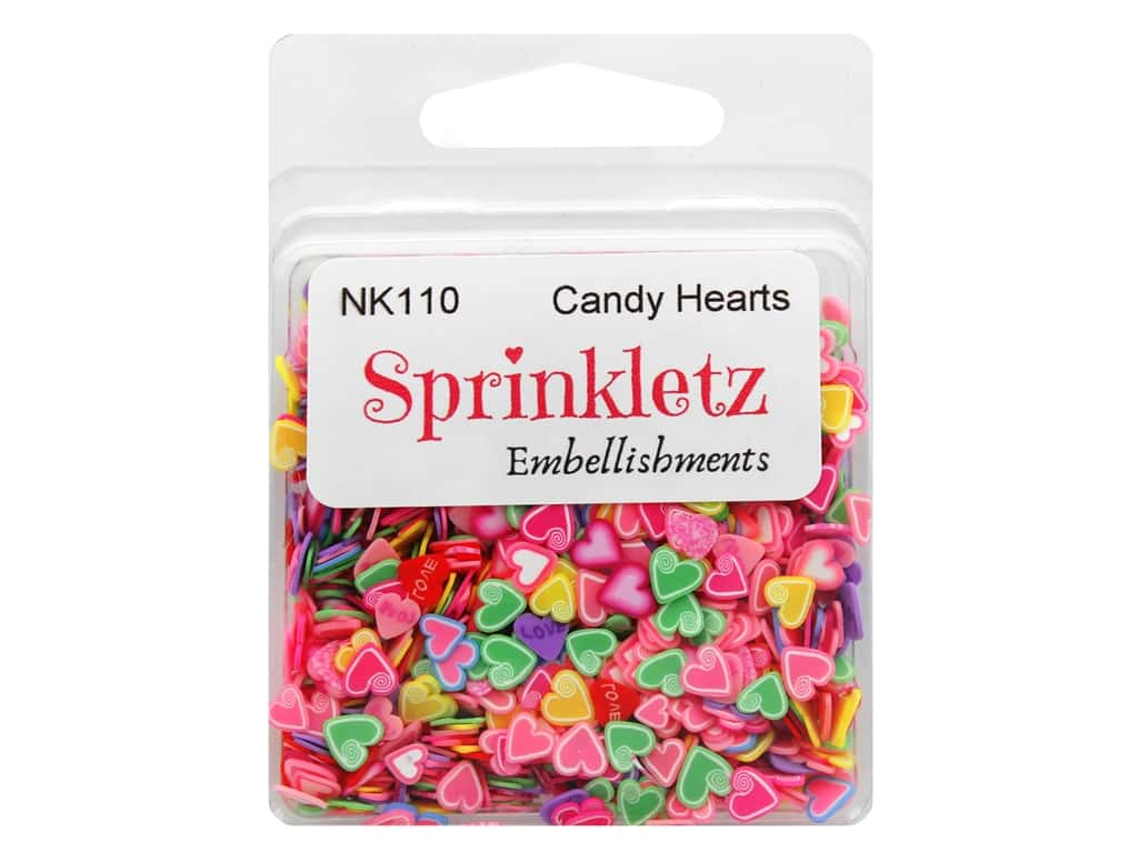 Buttons Galore Sprinkletz Embellishments Candy Hearts