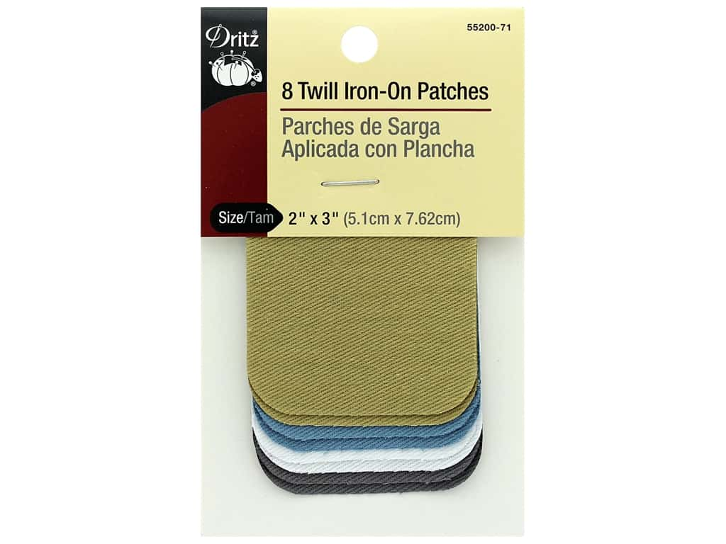 Dritz Twill Iron On Patches 8 pc. Light Assortment 2 x 3 in.