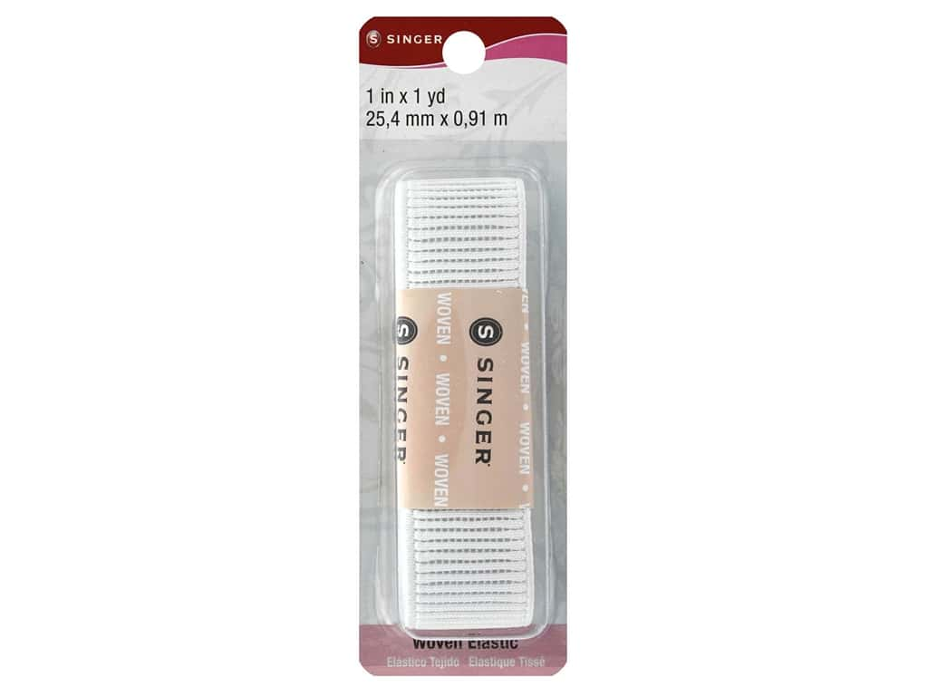 Singer Ribbed Non-Roll  Elastic White 1 in. x 1 yd.