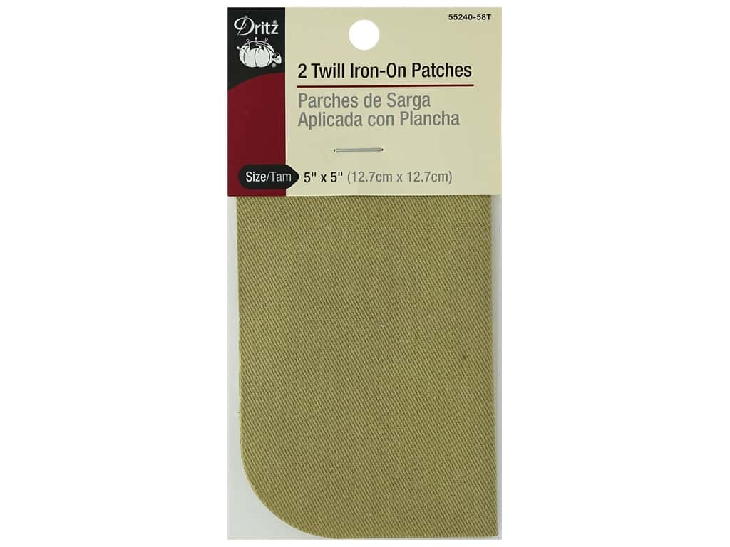 Dritz Twill Iron On Patches 2 pc. Khaki 5 x 5 in.