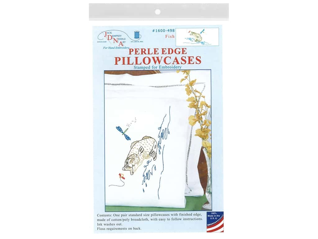 Jack Dempsey Perle Edge Pillowcase - Fish