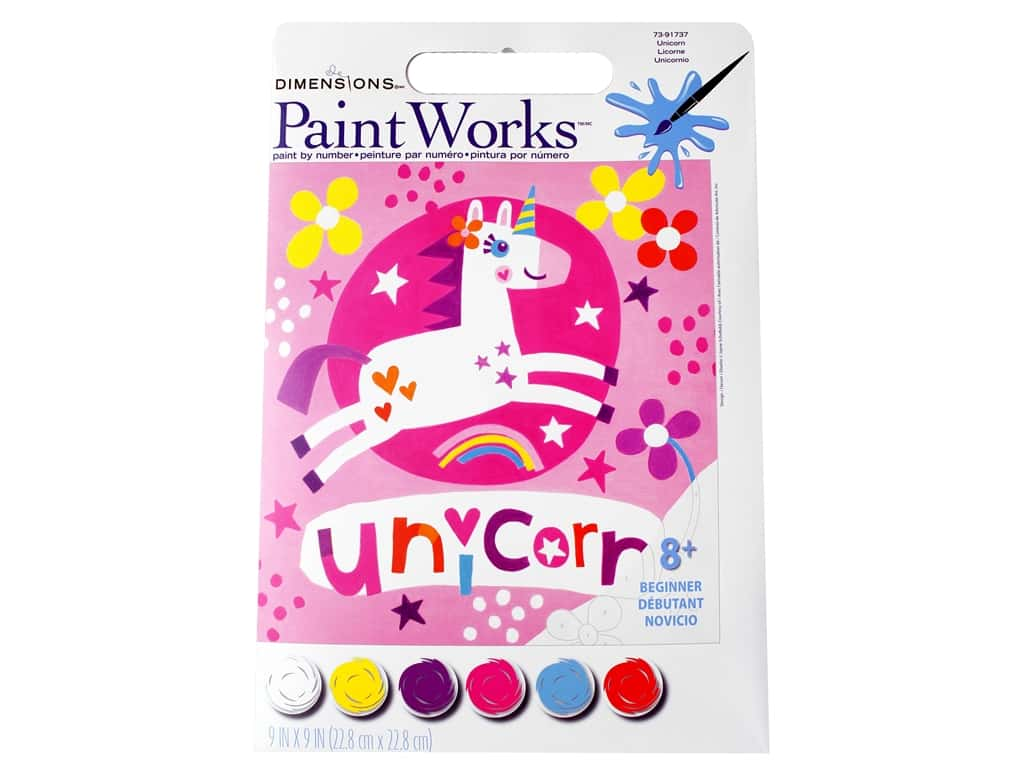 Paintworks Paint By Number Kit 9 x 9 in. Unicorn