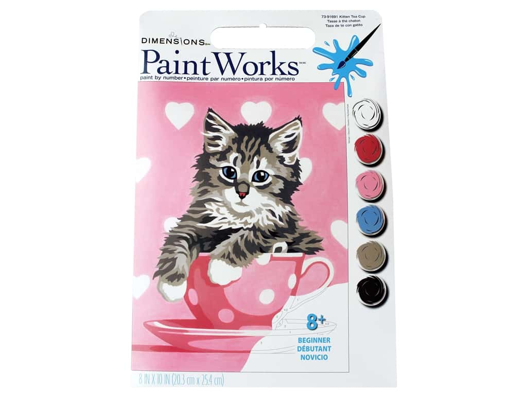 Paintworks Paint By Number Kit 8 x 10 in. Kitten Tea Cup