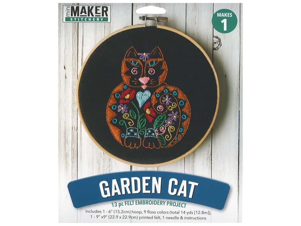 Leisure Arts Kit Mini Maker Felt Embroidery Garden Cat
