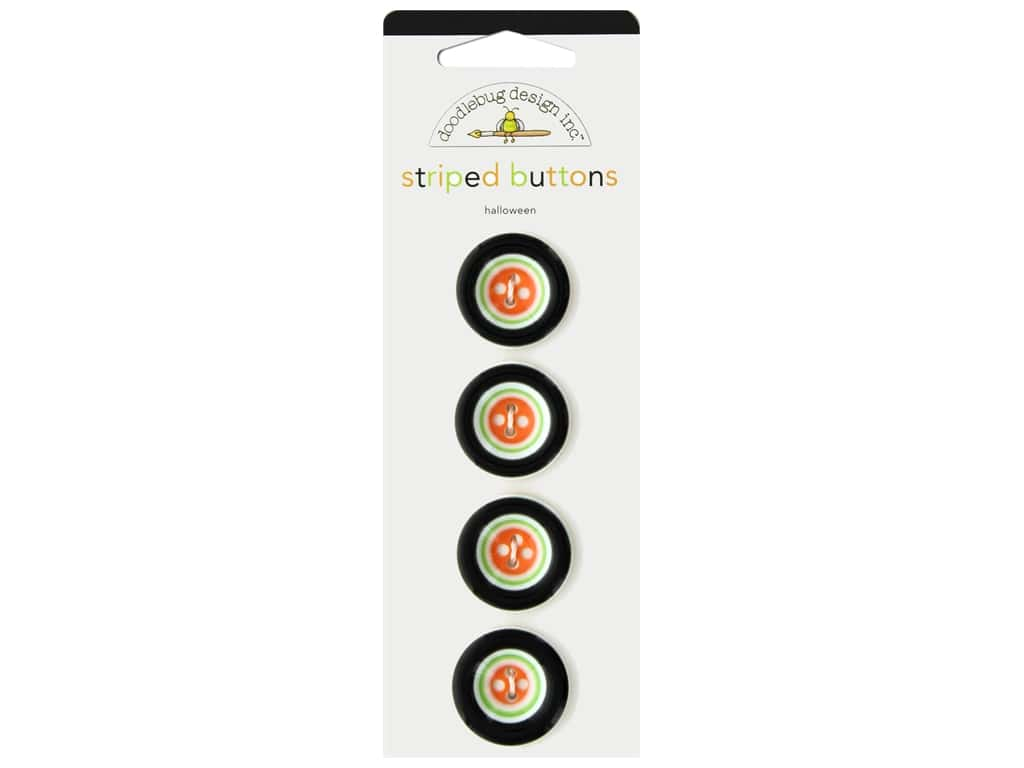 Doodlebug Collection Halloween Striped Buttons Halloween 4pc
