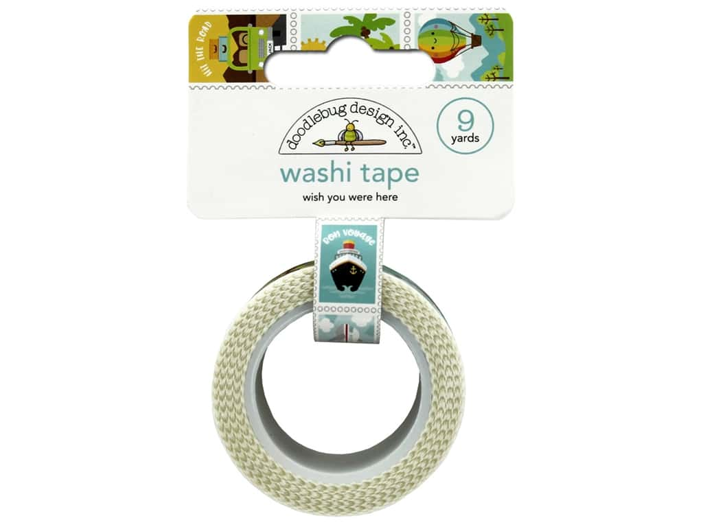 Doodlebug Washi Tape 1 in. x 8 yd. I Heart Travel Wish You Here