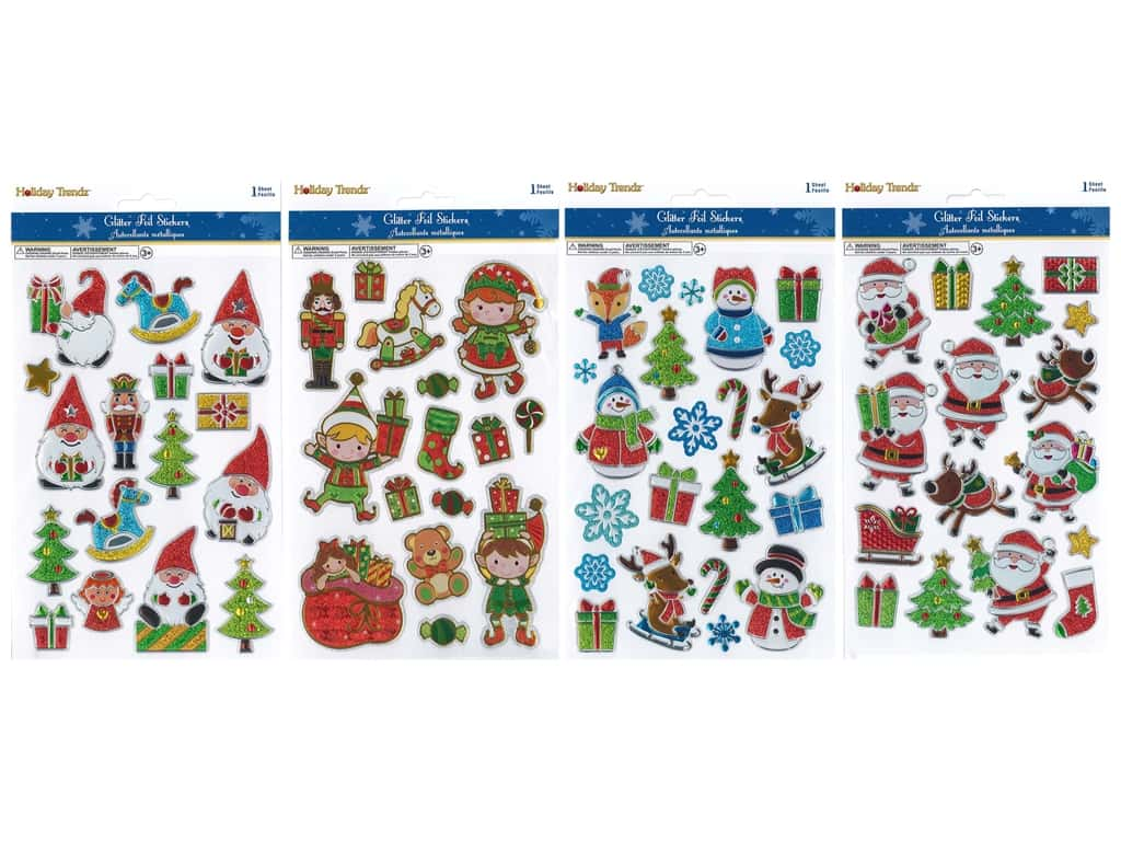 Multicraft Sticker Holiday 3D Glitter Foil Assorted (4 sets)