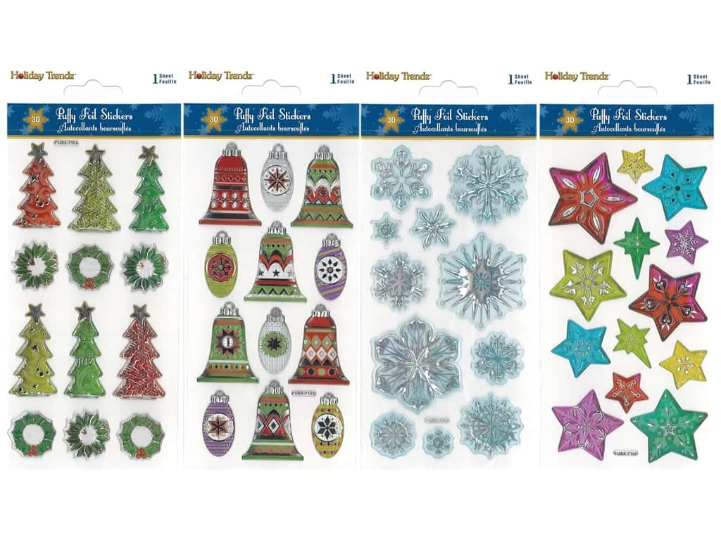Multicraft Sticker Holiday 3D Metallic Foil Puffy Assorted (4 sets)
