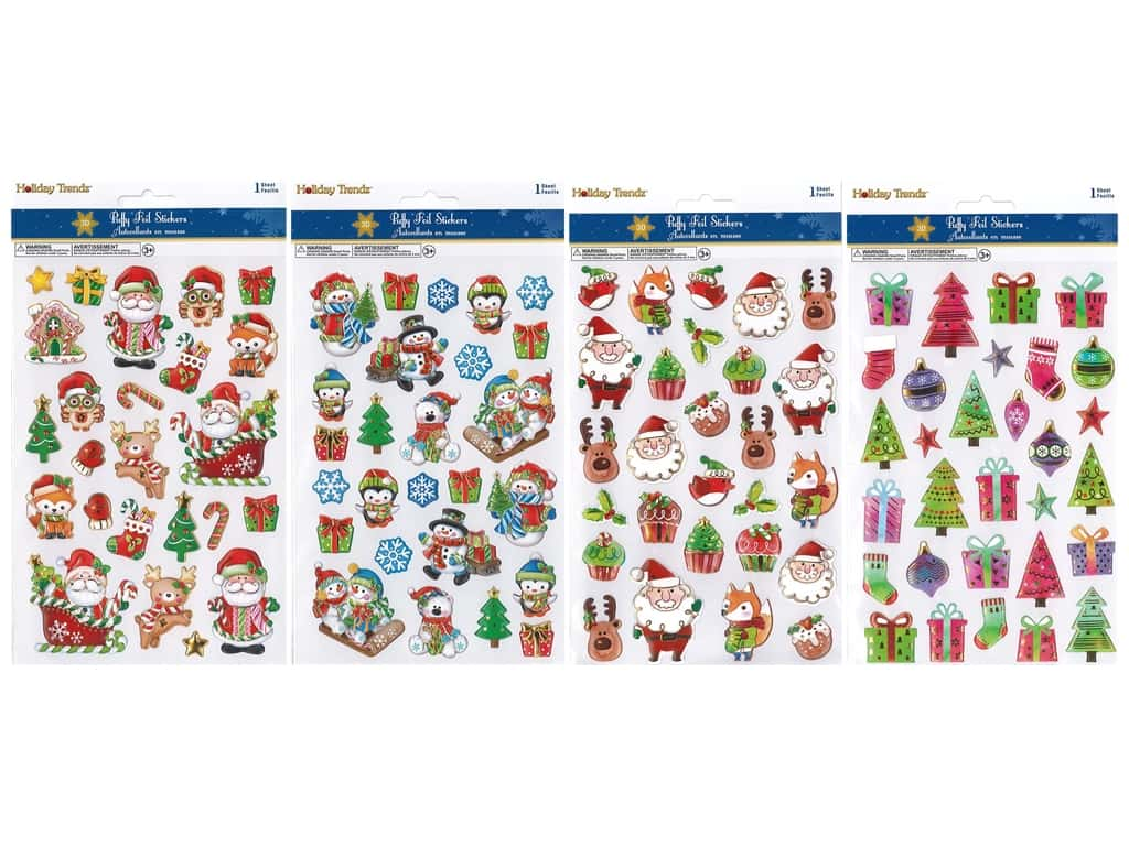 Multicraft Sticker Holiday 3D Puffy Foil Assorted Icon (4 sets)