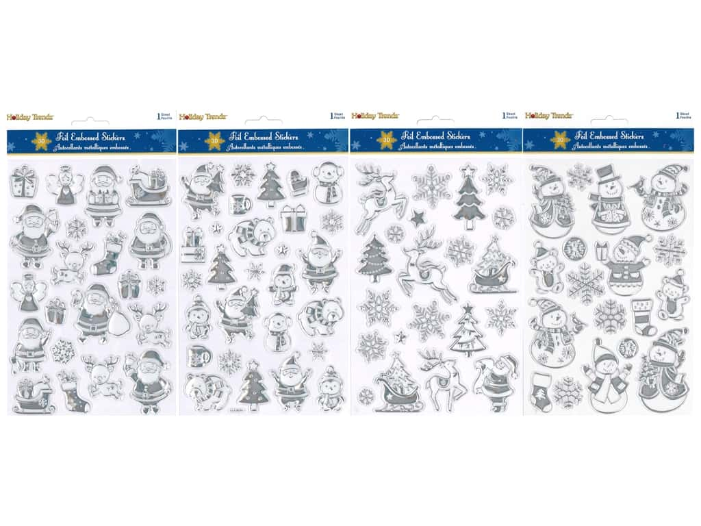 Multicraft Sticker Holiday 3D Foil Embossed Assorted (4 sets)