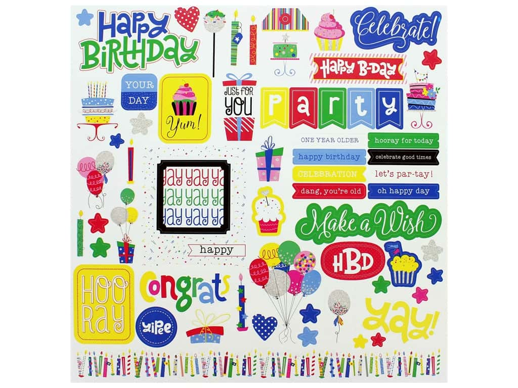 Photo Play 12 x 12 in. Sticker Sheet Confetti (12 pieces)