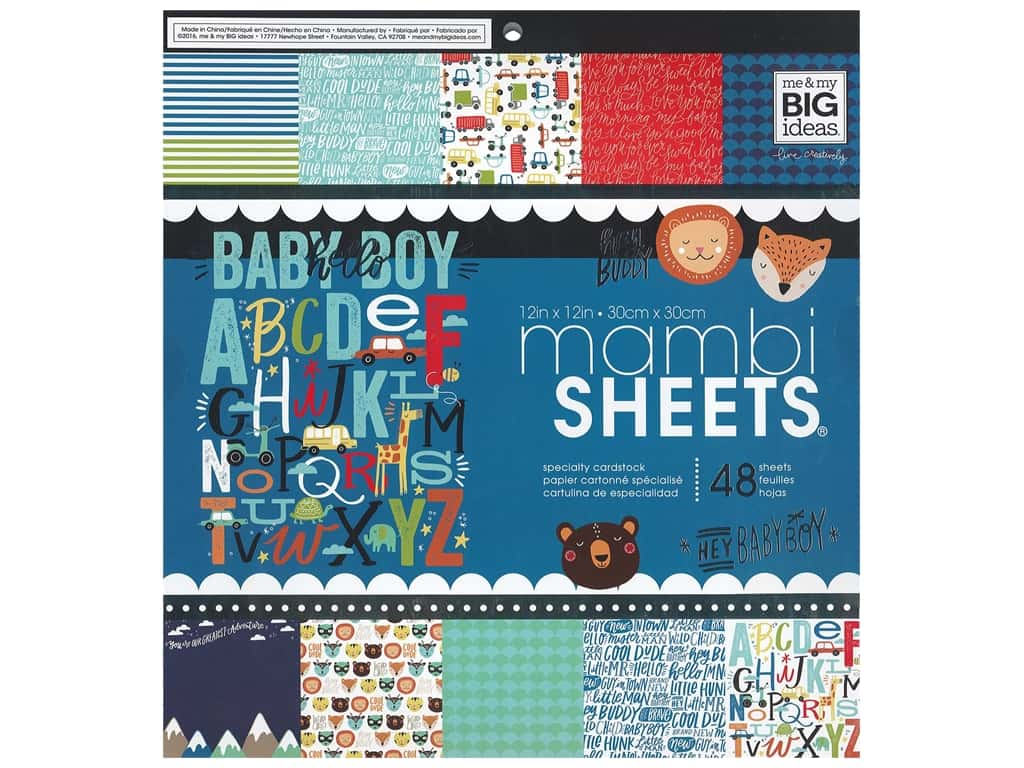 Me & My Big Ideas Sheets 12 x 12 in. Cardstock Pad Baby Boy Dreams