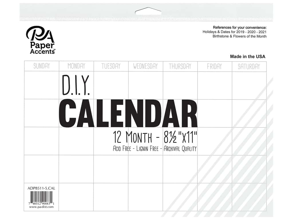 Paper Accents Calendar DIY 12 Month Blank 8.5 in. x 11 in. White
