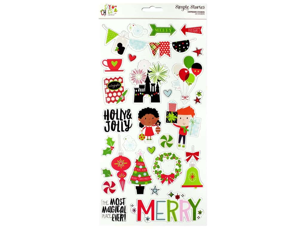 Simple Stories Collection Say Cheese Christmas Sticker Chipboard 6 in. x 12 in.