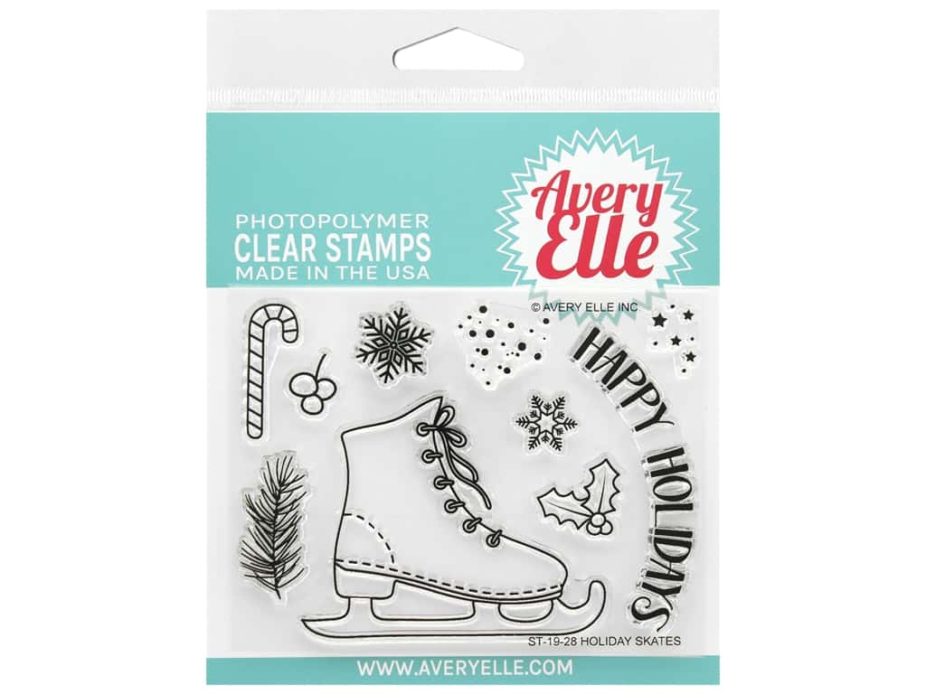 Avery Elle Clear Stamp Holiday Skates