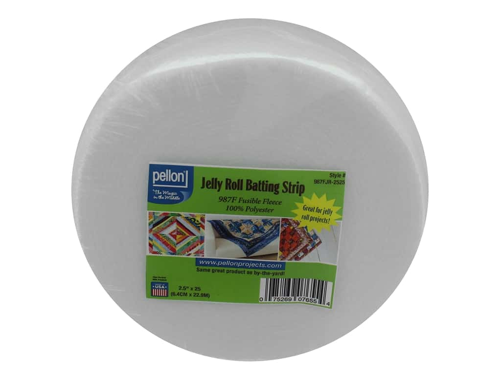 Pellon Batting Jelly Roll Strip Fusible Polyester 2.5 in. x 25 yd