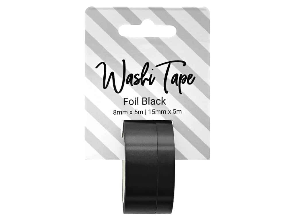 PA Essentials Washi Tape 8 mm & 15 mm x 5 m Foil Black