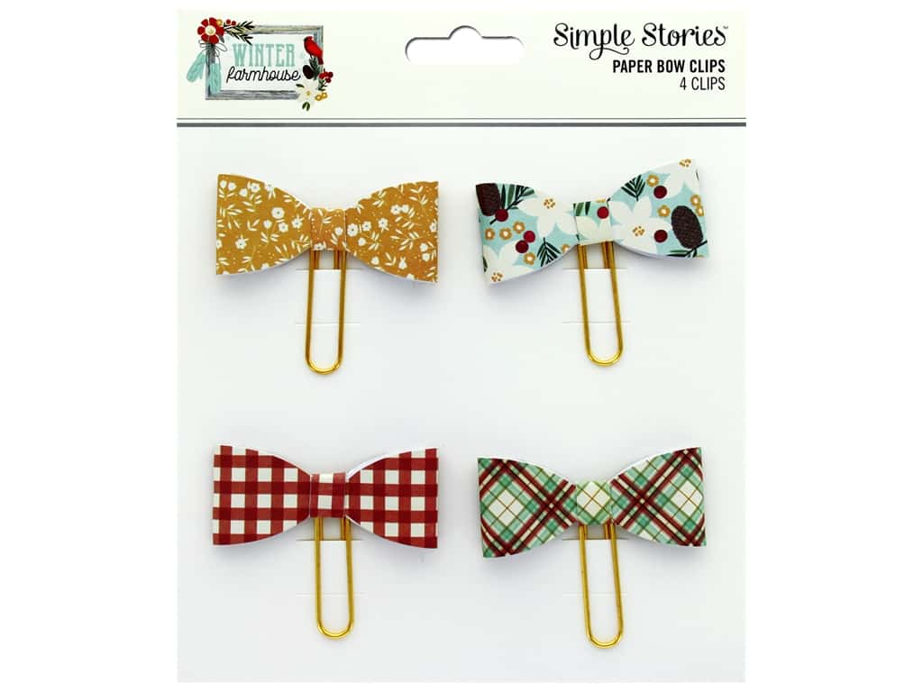 Simple Stories Collection Winter Farmhouse Bow Clips