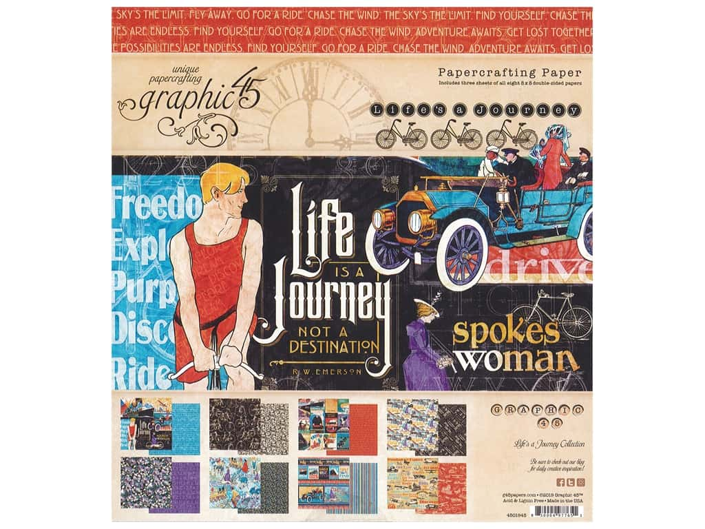 Graphic 45 Collection Lifes A Journey Paper Pad 8 in. x 8 in.