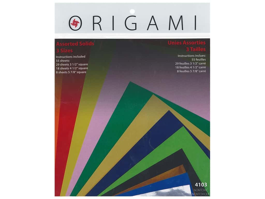 Yasutomo Fold Ems Origami Paper Assorted Size 55 pc. Solid Small
