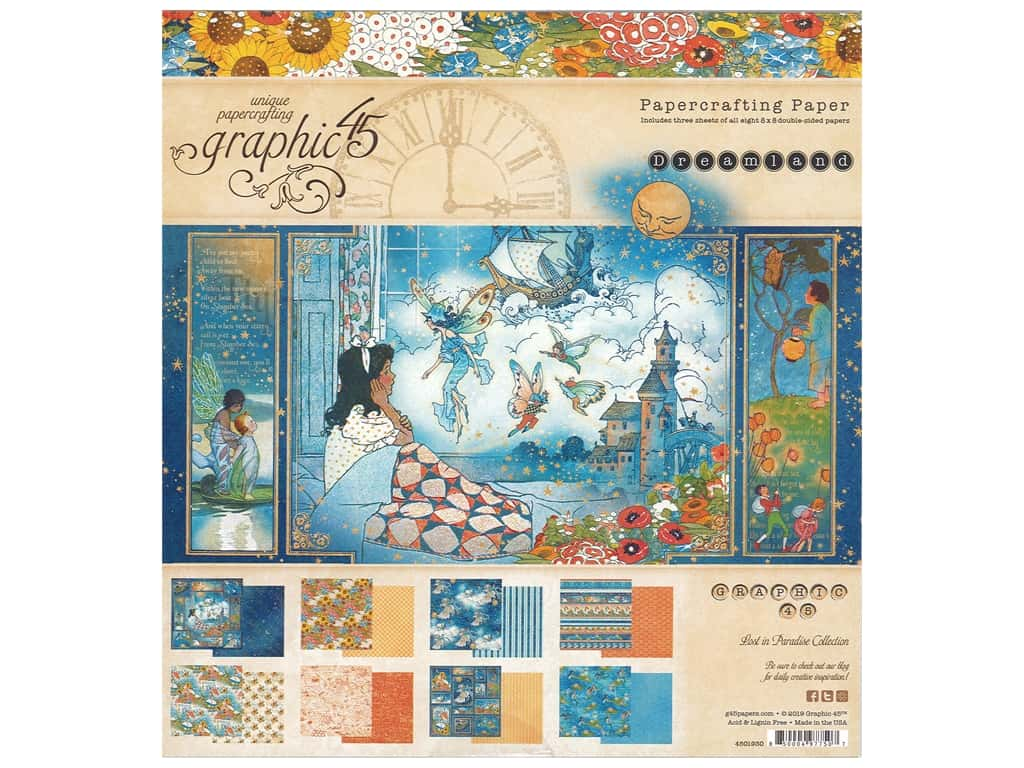 Graphic 45 Collection Dreamland Paper Pad 8 in. x 8 in.