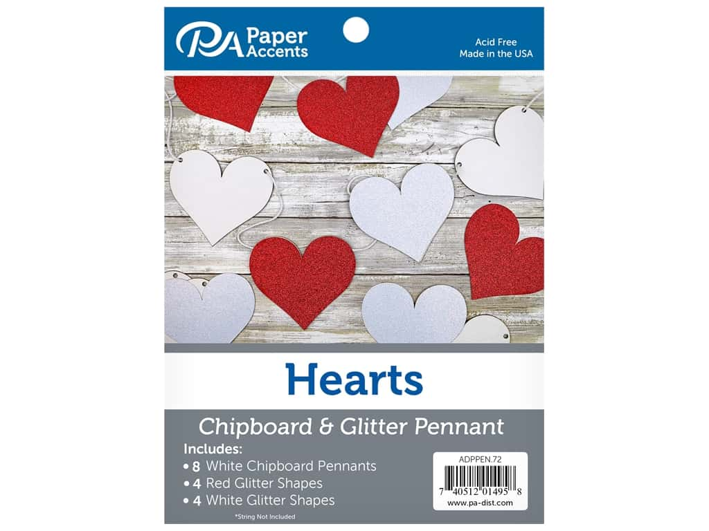 Paper Accents Chipboard Pennants Glitter Hearts 5 in. White/Red/White 16 pc