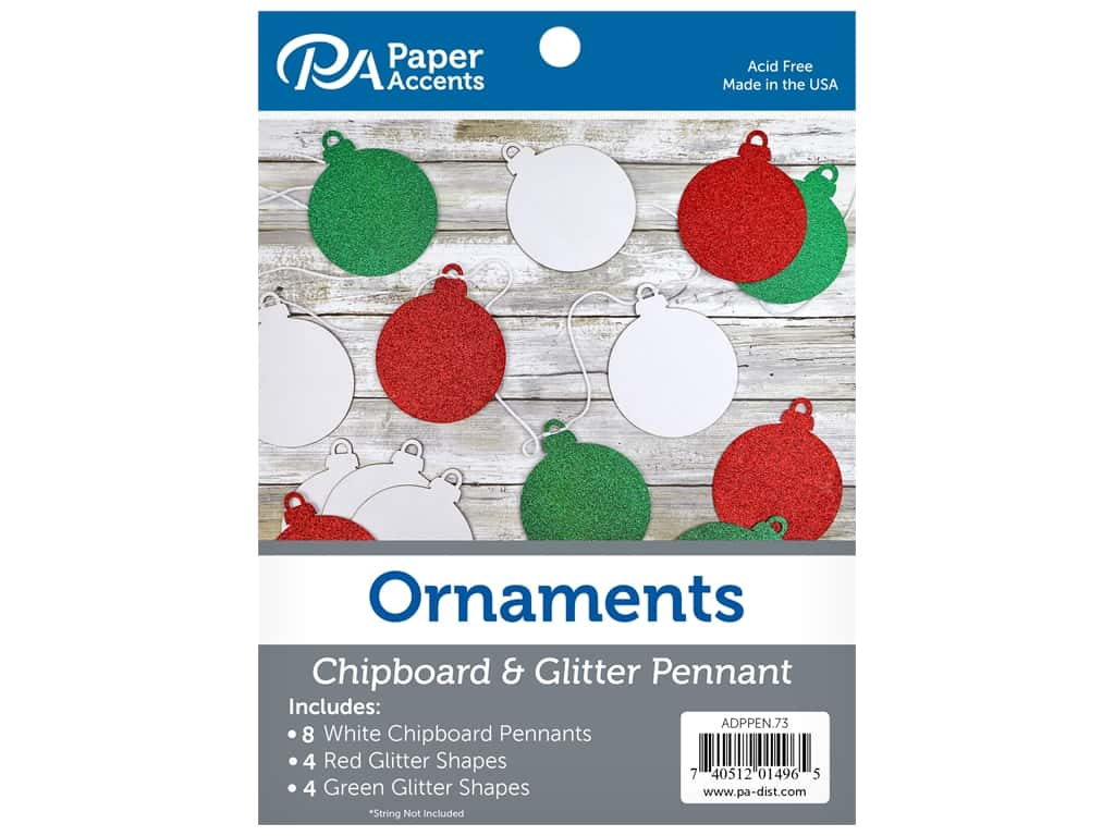 Paper Accents Chipboard Pennants Glitter Ornaments 5 in. White/Red/Green 16 pc