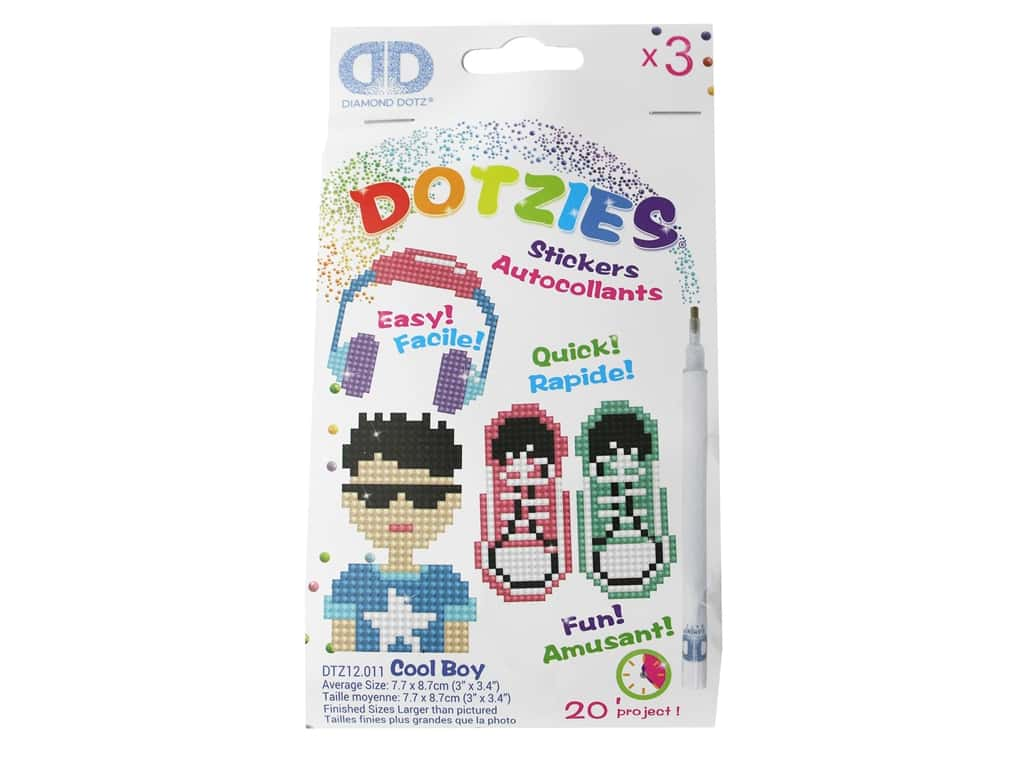 Diamond Dotz Facet Art Dotzies Stickers Kit Cool Boy 3 pc