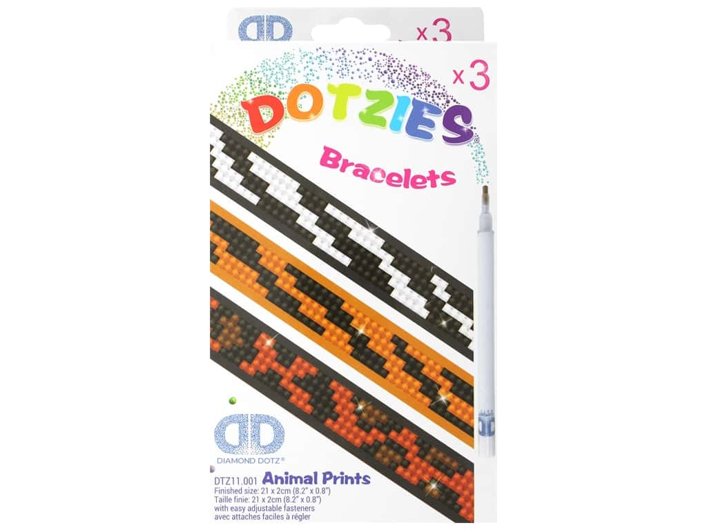 Diamond Dotz Facet Art Dotzies Bracelets Kit Animal Prints 3 pc