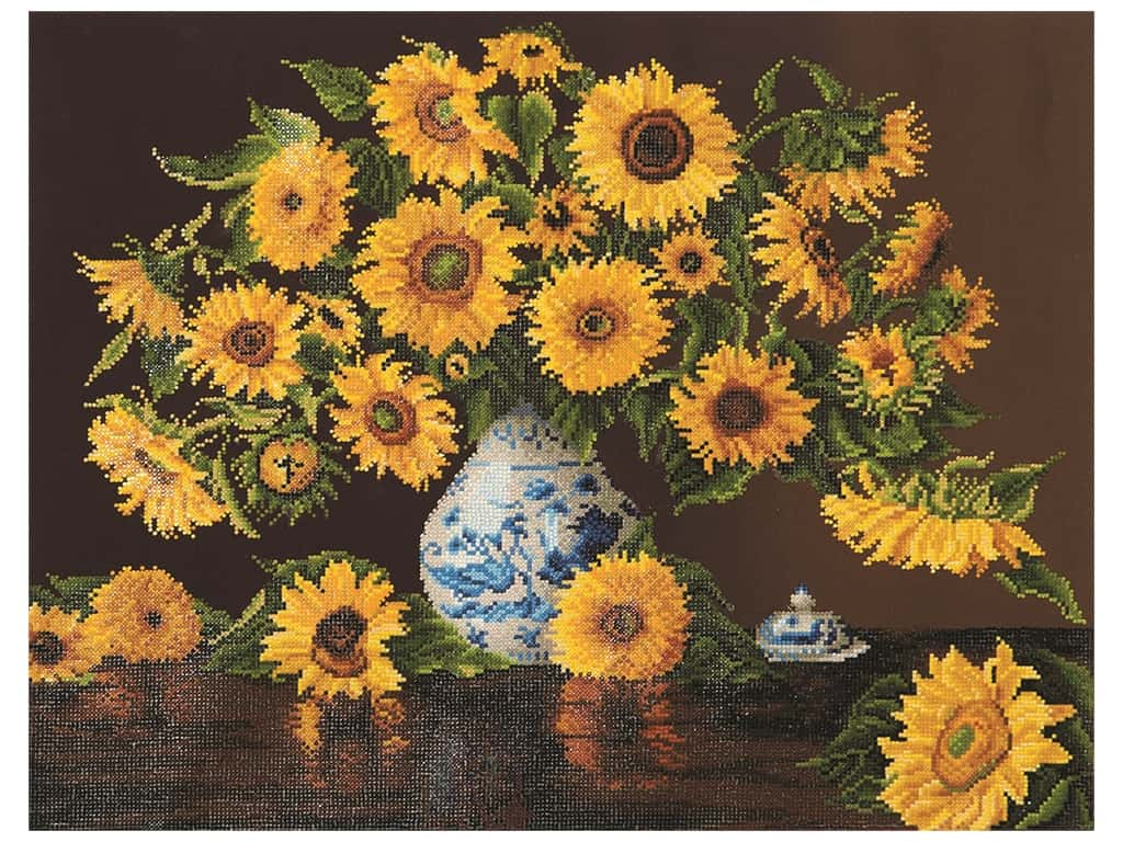 Diamond Dotz Facet Art Kit Advanced Sunflowers In China Vase