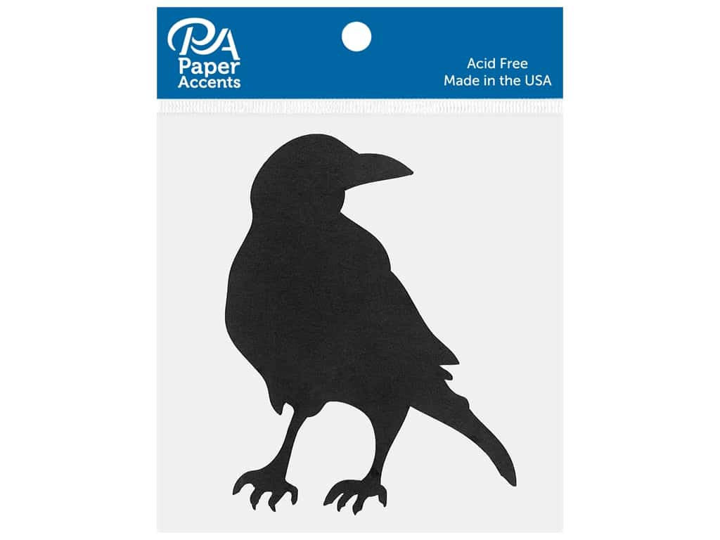 Paper Accents Chip Shape Crow Black 6 pc