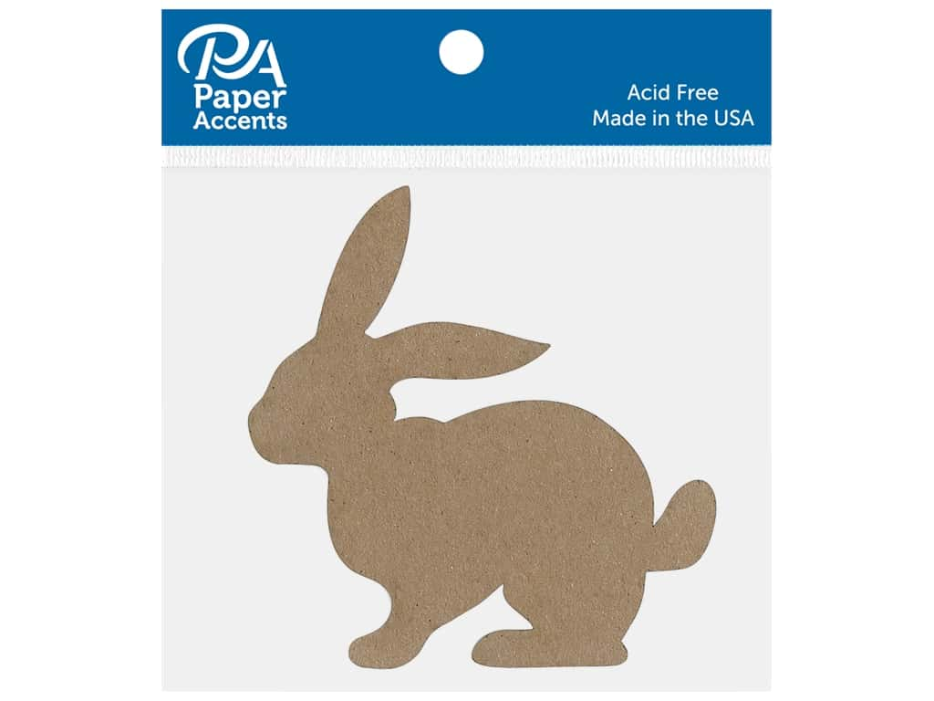 Paper Accents Chip Shape Bunny Natural 8 pc