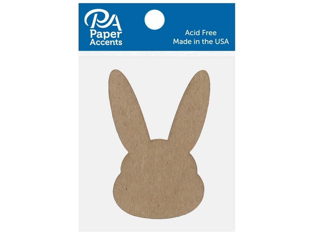 Paper Accents Chip Shape Bunny Head Natural 8 pc