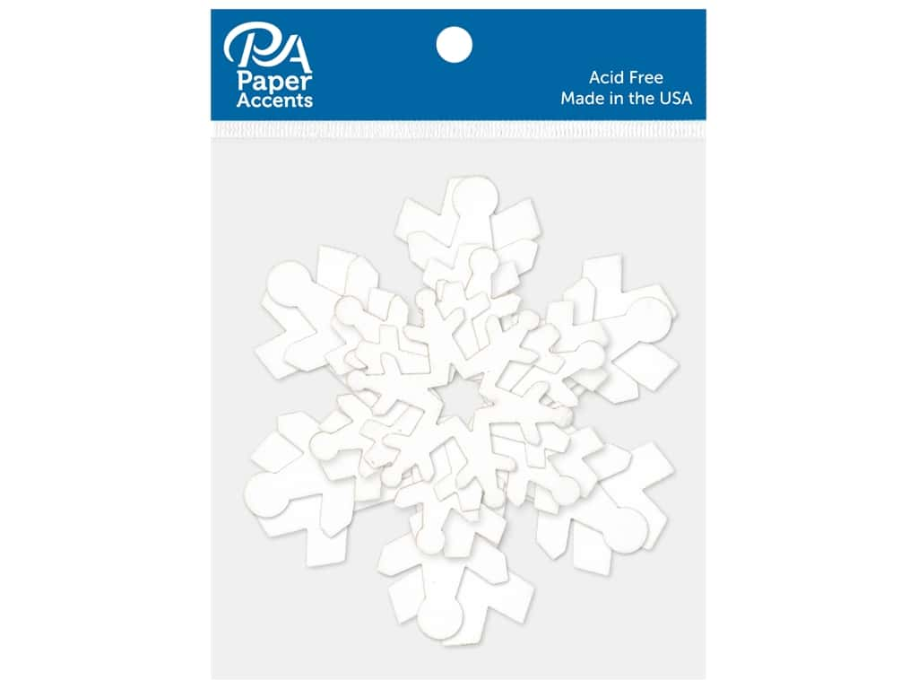 Paper Accents Chip Shape Multi Snowflake Assorted Sizes White 12 pc